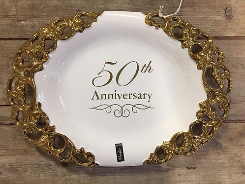 "12.75"" x 8.75"" ""50th Anniversary"" Ceramic Platter by Verdici"