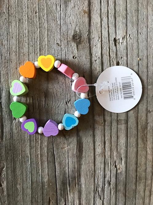 Wooden Rainbow Heart Shaped Children's Bracelet by CLS