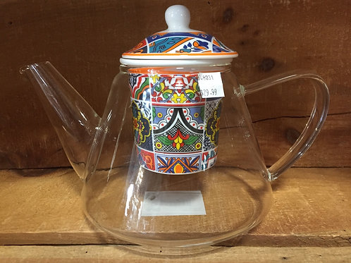 """9"""" x 6.5"""" x 6"""" Clear Glass Teapot with Mosaic Patterned Ceramic Infuser"""