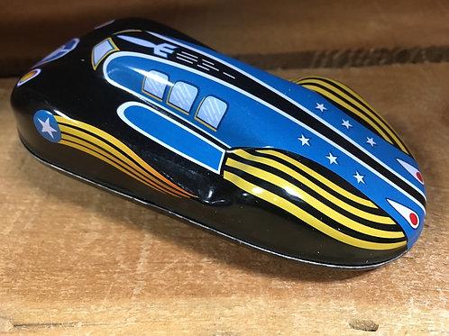 Black and Yellow Striped Metal Push Along Race Car
