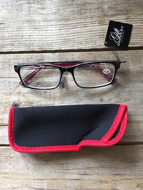 1.25 Strenghth Reading Glasses with Red Trimmed Fabric Pouch by GiftCraft
