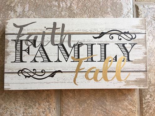 """Faith, Family, Fall"" - 9"" x 4.75"" x 2"" Wood Block with Hanger"