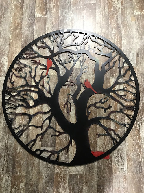 """39"""" x 39"""" Metal Tree of Life Circle with Cardinals by Panam"""