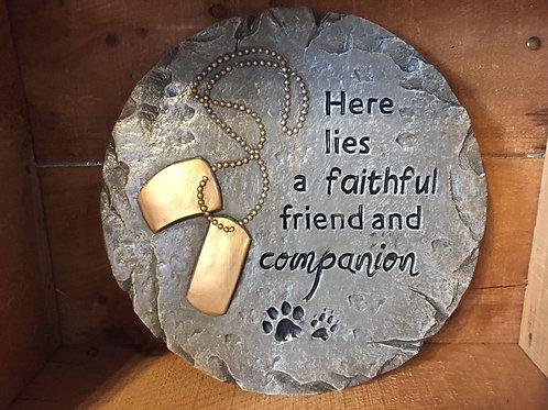 "11.5"" ""Here Lies a Faithful Companion"" Pet Memorial Concrete Stepstone"