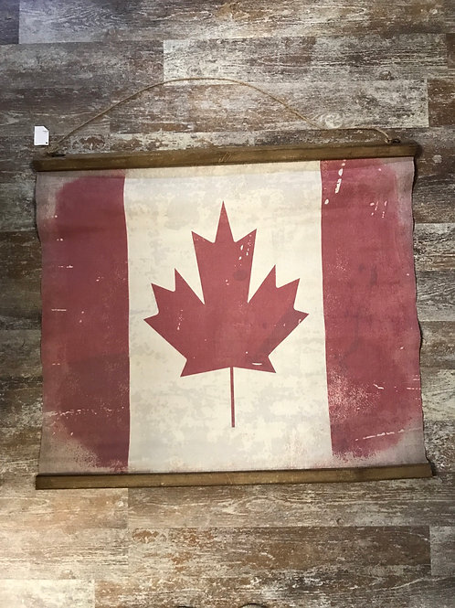 """29"""" x 26.75"""" Canada Flag Canvas Banner with Wood Bars by Koppers Imports"""