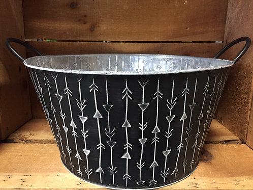 """Black Striped 11.75"""" x 11.75"""" x 6"""" Metal Planter Basket"""