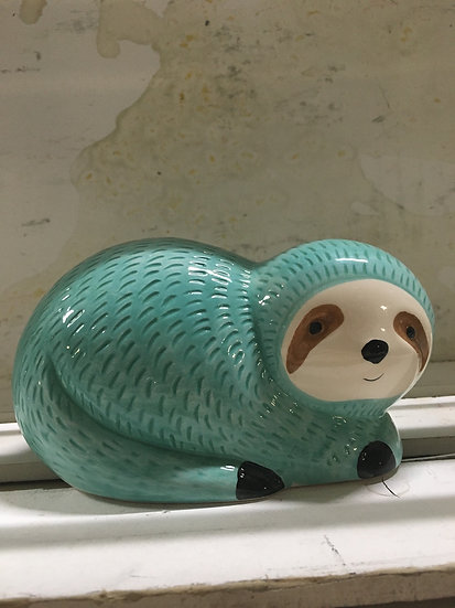 Blue Sloth Piggy Bank