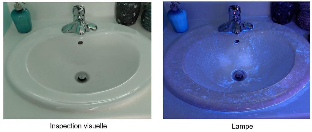 Illumination des germes d'un lavabo
