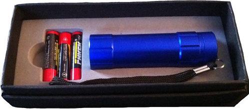 Taschenlampe blau elox. 3 Zeiliger Text