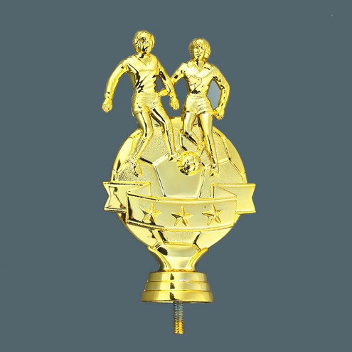 Damen Fussball 2 Figuren Gold 140mm