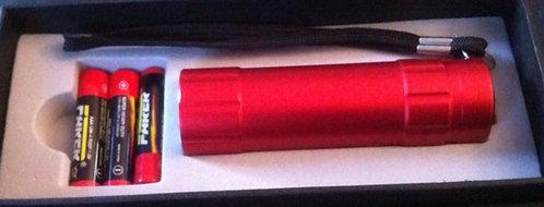 Taschenlampe rot elox. 2 Zeiliger Text