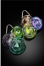 E017 Six Bead Transparent Disc Earrings