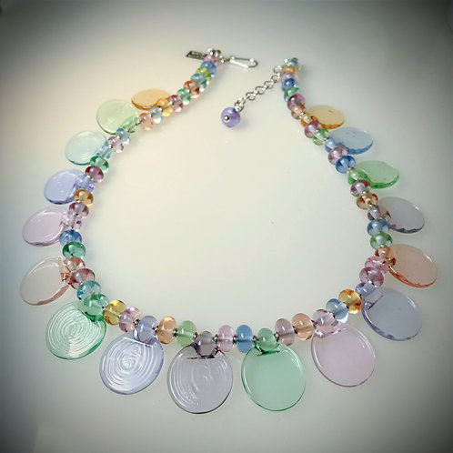 N175 Paddle Bead Necklace Multicolor Transparent