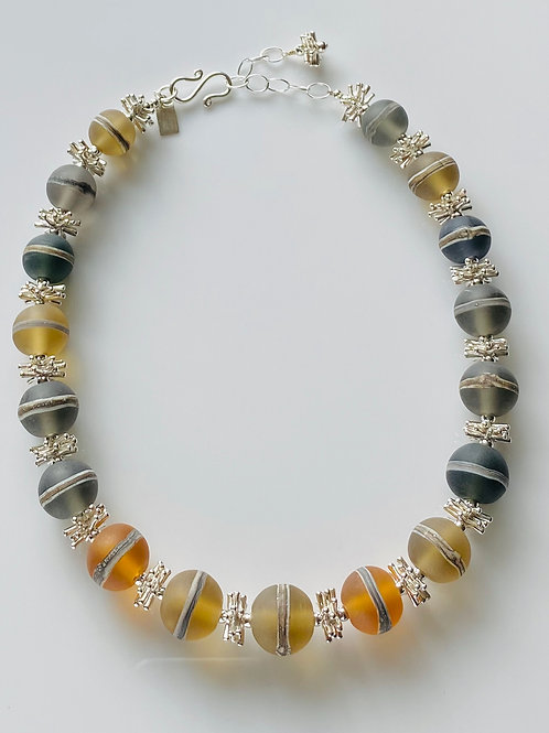 N042 Etched Transparent Round Earth Tone Bead Necklace