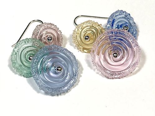 E039 Flying Saucer 6 Disc Bead Earrings Transparent Pink/Mint/Blue+ Frit Trim