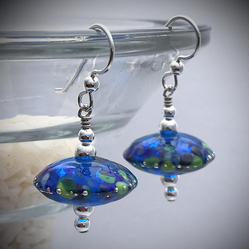 E188 Chunky Saucer Bead Earrings Blue w/Frit