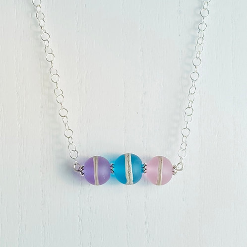 N075 Bar Necklace Etched Transparent Round Beads Purple/Turquoise/Pink