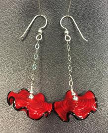 E011 Red Ruffle Disc Earrings