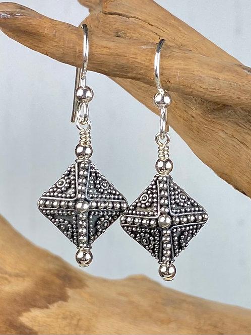 E243 Bali Bead Sterling Silver Sparkling Earrings - E243