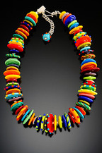 BLN036 Opaque Multicolor Disc Necklace