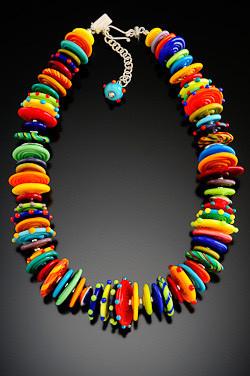 BLN036 Opaque Multicolor Disc Necklace