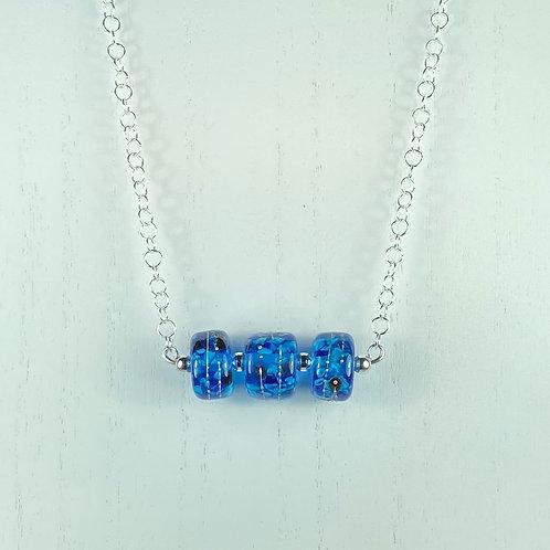N076 Bar Necklace Blue Transparent Barrel Beads w/Frit