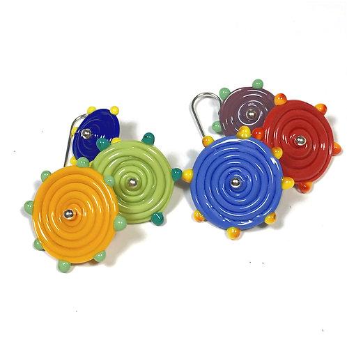 E040 Flying Saucer 6 Disc Bead Earrings Opaque Blue/Orange/Red+ Dot Trim