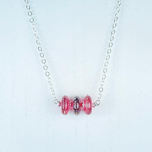 N064 Bar Necklace Transparent Disc Beads Rose/Purple/Rose