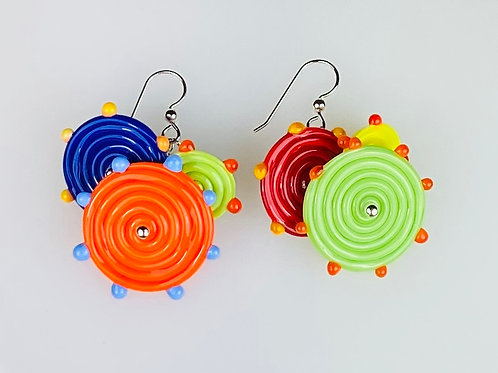 E050 Flying Saucer Earrings 6 Opaque Discs Royal Blue/Orange/Lime/Yellow/Red