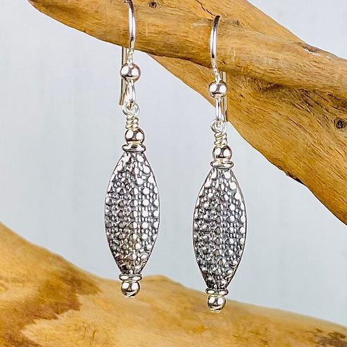 E237 Bali Bead Sterling Silver Sparkling Earrings - E237