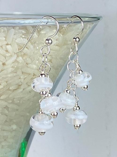 E153 Six Baby Bead Earrings Filigrana Beads White/White/White