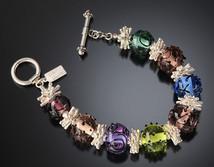 B514 Transparent Multicolor Beads w/Black Scribbles Bracelet