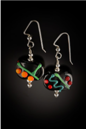 E019 Opaque Black Flat Bead Multi-Color Scribbles Earrings
