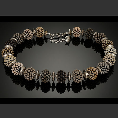 N037 Opaque Black Bead Necklace w/Beige + Dots Trim