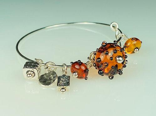 B054 A & A Bracelet Transparent Topaz Round Beads w/Black Dot Trim