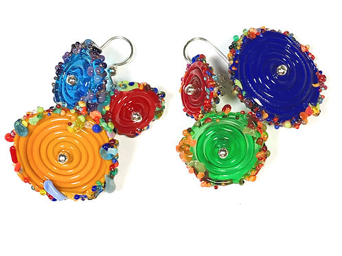 E059 Flying Saucer 6 Disc Bead Earrings Opaque Blue/Yellow/Red+ Frit Tri