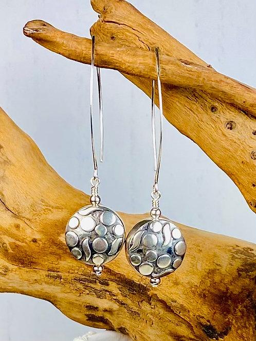 E239 Bali Bead Sterling Silver Sparkling Earrings - E239