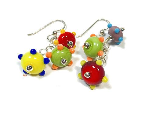 E158 Six Baby Bead Earrings Opaque Green/Red/Yellow+ Dot Trim