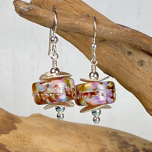 E047 Chunky Barrel Earrings w/Frit Melted In Pink/Purple/Peach