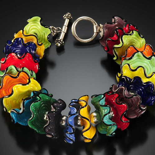 B150 Opaque Multicolor Ruffle Bead Bracelet