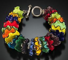 B508 Multicolor Opaque Ruffle Bracelet