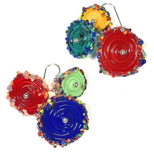 E058 Flying Saucer 6 Disc Bead Earrings Opaque Blue/Yellow/Red+ Frit Trim