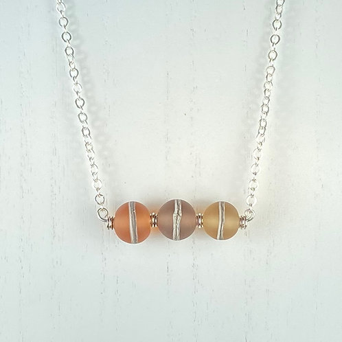 N071 Bar Necklace Etched Round Transparent Beads  Orange/Plum/Golden