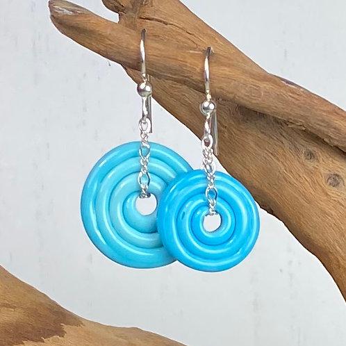 E067 Wheelie Bead Earrings Turquoise Circles Large & Medium