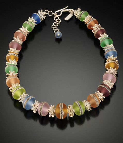BLN112 Etched Transparent Round Bead Pastel Necklace