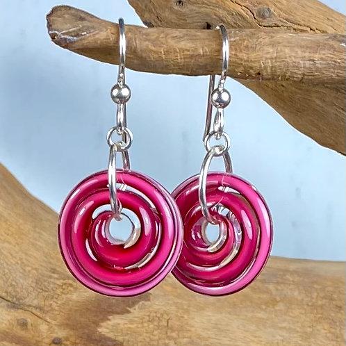 E131 Filigrana Disc Bead Earrings - Pink