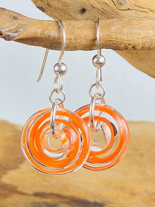 E143 Filigrana Disc Bead Earrings - Orange
