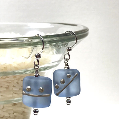 E096 Etched Pillow Bead Earrings w/Silvered Ivory Trim - Blue