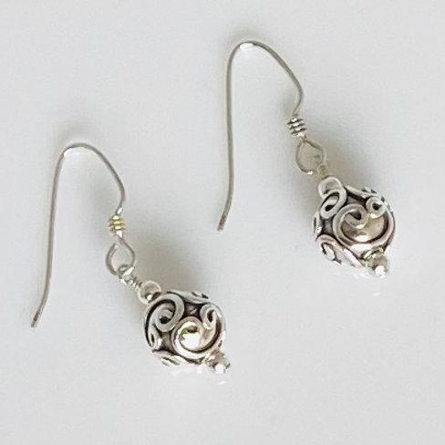 E218 Bali Bead Sterling Silver Sparkling Earrings - E218