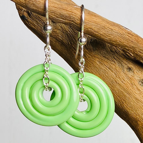 E068 Wheelie Bead Earrings Lime Green Beads Large & Medium